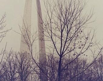 "St. Louis Arch Photograph, ""Winter Arch"" Print. Gray, Purple, Dark Moody Gateway to the West. Missouri 8x10, 11x14, 16x20, 20x24, 24x30"