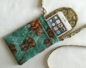 Iphone 6 Plus Smart Phone Gadget Case Detachable Neck Strap Quilted Animal Print Elephants Brown Gold Turquoise