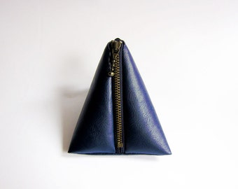 Triangle Pouch in Navy Blue - Faux Leather Zipper Coin Purse - Simple and Classic Zipper Pouch in Faux Sheepskin