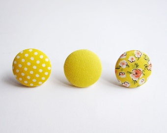 Clip On Earrings / Stud Earrings / Button Earrings - Mix and Match Earrings in Yellow - Set of 3