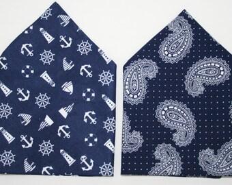 Two Pocket Squares - Navy, nautical, paisley, duo, set of two