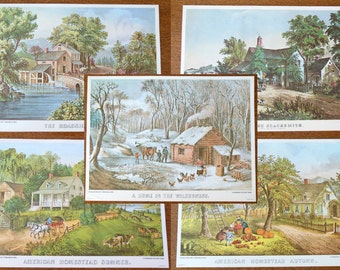 Vintage Currier & Ives Litho Prints Wilderness, Blacksmith, Autumn, Summer, Mill