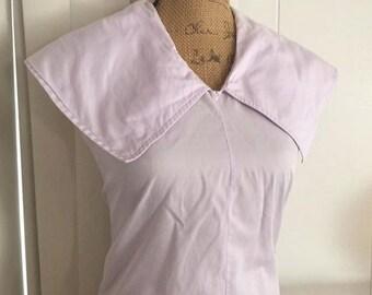 Vintage 1950's Lavender Cotton Sailor Blouse -- Size M-L