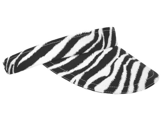 "Calico Caps presents...The VISOR! - ""Seeing Stripes"" - Black & White Zebra Peau de Zebre animal skin print Sport Fashion - FREE USA Shipping"