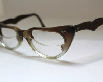 1950s Cats Eye Glasses // 40s 50s Vintage Catseyes Frames // half lens Cutout Design //A Star is Born /RH103