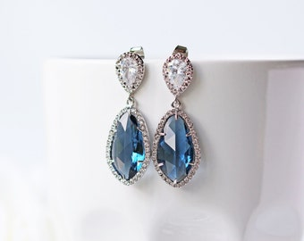 Cubic Zirconia Navy Blue Glass Silver Earrings LUX Teardrop Modern Statement Wedding