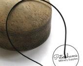 Satin Ribbon Wrapped 3.5mm Metal Headband for Fascinators & Millinery - Black