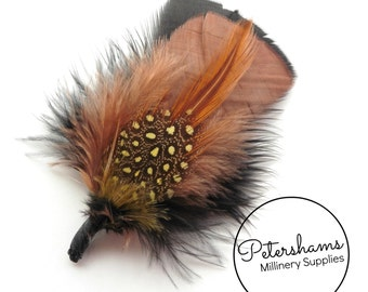 Men's Hat Feathers Millinery Mount (Turkey, Hackle and Spotted Guinea Feathers) - Rosy Brown & Black