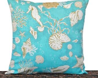 Turquoise Seashells Pillow Cover Cushion Coastal Olive Green Beige Seahorse Sea Coral Beach Repurposed Decorative 16x16