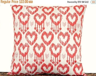 Christmas in July Sale Ikat Heart Valentine Pillow Cover Cushion Beige Red Pink Decorative Repurposed 16x16