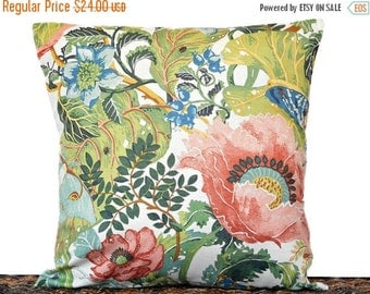 Christmas in July Sale Tropical Floral Pillow Cover Cushion Beige Salmon Pink Blue Green Yellow Leaves Coastal Repurposed Decorative 16x16