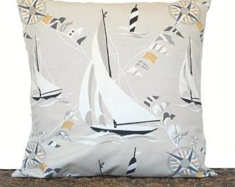 Sailboats Nautical Pillow Cover Cushion Coastal Compass Tan Black Gray Mustard White Decorative 18x18