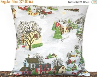 Christmas in July Sale Christmas Pillow Cover Cushion Winter Village Scene Rustic Christmas Red Green Yellow Brown Blue White  Repurposed De
