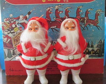 Totally Kitch Pair of Standing Santas-Made in Japan