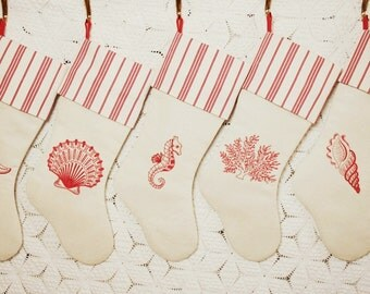 Coastal Redwork Embroidery Heirloom Christmas Stockings - Vintage French Linen and Vintage French Ticking - Choice of 5 Designs