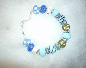 Blue and Pearl Variety Beaded Bracelet
