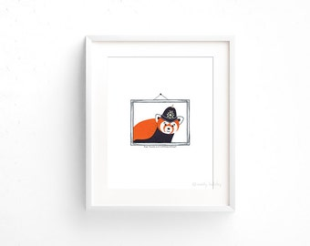 Red Panda in a Custodian Helmet (100 Animals in Hats Series) - Giclee print of original collage illustration - 8 x 10in