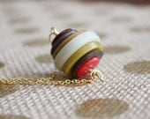 Red, Mustard Yellow, & Neutral Button Necklace | Recycled Button Stack Gold Necklace