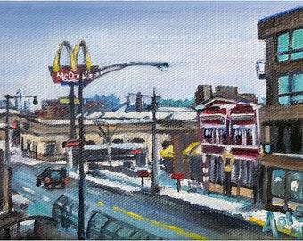 Chicago Winter Oil Painting - 7x5in Mini Original Painting
