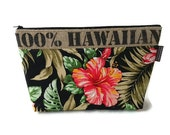 Gift for Graduate. Burlap and Tropical Print Clutch, Black, Red Hibiscus. Repurposed Hawaii, USA Coffee Bag. Handmade in Hawaii.