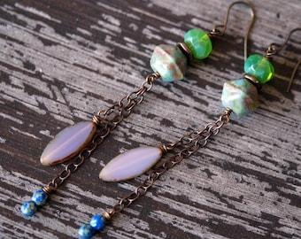 Bead Soup Jewelry - Shoulder Duster Earrings - Locust Green and Purple Earrings - Ultra Long Earrings