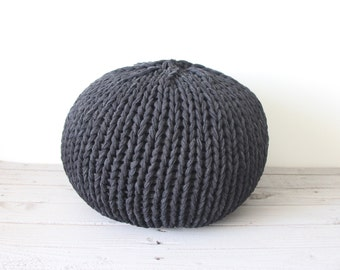 Hand knit pouf - super chunky jersey yarn in 3 sizes