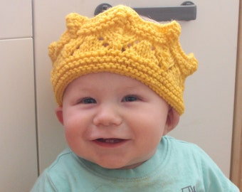 Hand knit crown for king or queen dress up - baby child and adult sizes