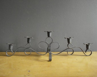 Vintage Black Metal Candle Holder - Mid Century Wrought Iron Look Shaped Metal Candle Base