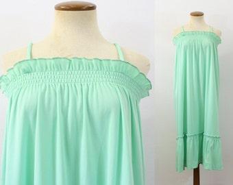 1970s Sundress Mint Green Dress Midi Smocked Tunic Retro Camisole Spaghetti Straps Summer Vintage 70s Tent Hippie Boho Tiered Smocking