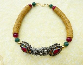 Antique Moroccan Berber Fibula Necklace Choker, Fibula chain, Unique, Berber Jewelry, Berber chain, Unique