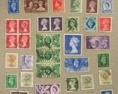 Vintage British Postage Stamp Mix - Old Stamps from Great Britain - Queen Elizabeth Edward VIII George VI - Old Vintage UK Postage Stamps