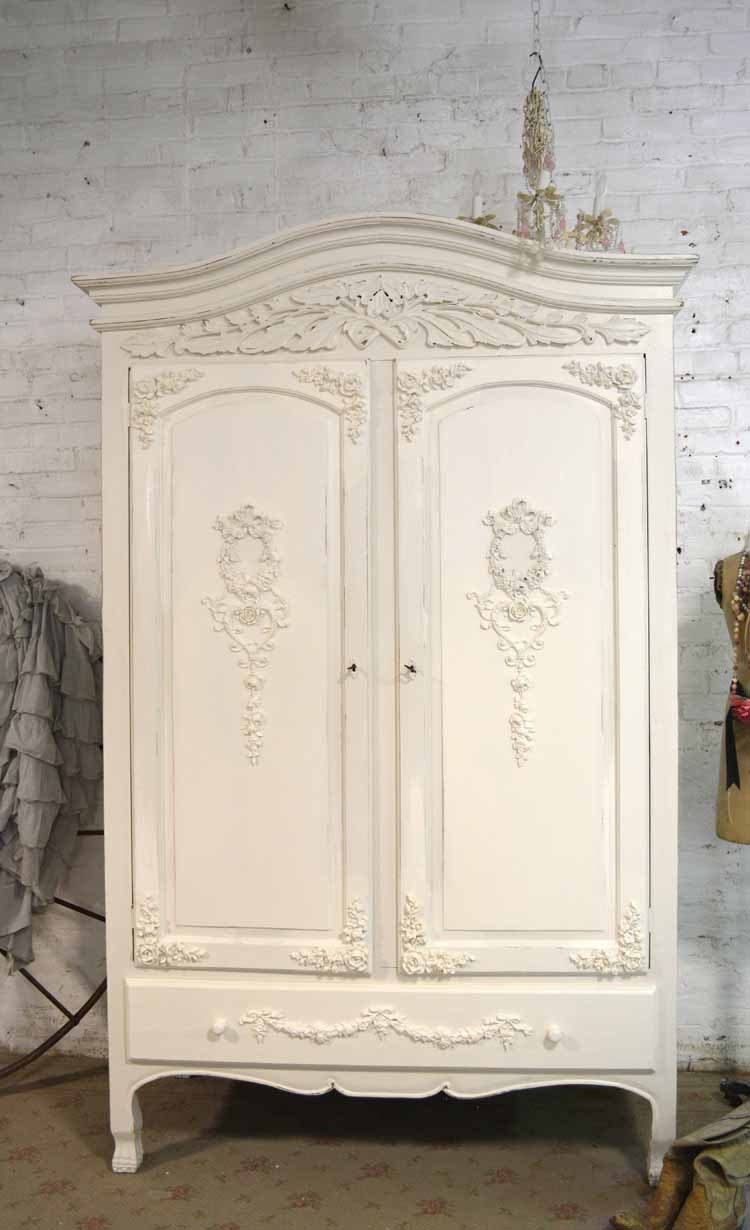 French armoire painted cottage chic shabby french romantic for 1800 closets