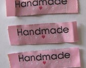 20 Handmade with love woven label tag clothes  fabric crafts craft scrapbooking scrapbook papercrafts sew on heart labels pink