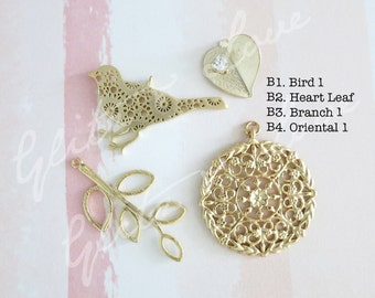 Add a Charm - Bird, heart love, leaf, floral filigree oriental, autumn, summer, spring, Personalised, silver rose gold
