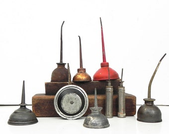 Lot of 9 Vintage Thumb Oiler Oil Can Perfect Pocket Oiler Steampunk Industrial Decor Repurpose