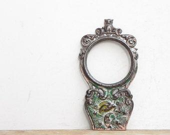 Vintage cast iron owl picture frame