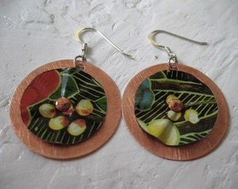 Recycled Metal Tin and Copper Earrings