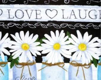Timeless Treasures Black Live, Love, Laugh Border Stripe C4424-BLK