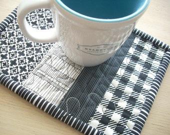 mug rug in black and white again - FREE SHIPPING