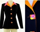 CLEARANCE 1980s jacket, black orange pink, 1980s blazer, enamel buttons, abstract, color block Size S