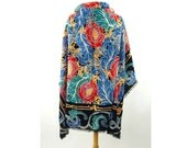 Liberty of London shawl wool shawl 1980s large square colorful wrap