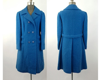 1970s wool coat by Belson blue boucle' wool tailored double breasted winter coat Size M