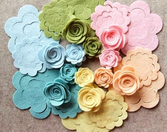 Wool Dream - Small & Medium 3D Rolled Roses - 24 Die Cut Wool Blend Felt Flowers - Unassembled Rosettes