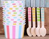 Pastel Rainbow Stripe Ice Cream Cups & Wooden Spoon Set, Pastel Ice Cream Cups, Ice Cream Cups, Ice Cream Social,Ice Cream Spoons(set of 12)