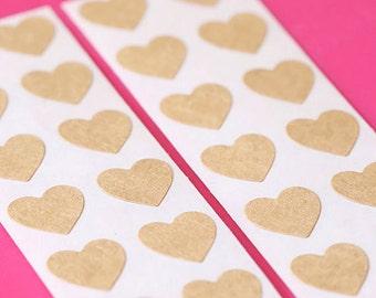 "1/2"" Brown Heart Stickers, Brown Heart Seals, Heart Labels, Heart Tags, Heart Goodie Bag Seals, Heart Favor Bag Seals, Heart Envelope Seals"