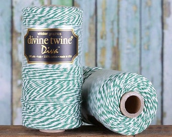 Striped Dark Green Bakers Twine Spool, Green Twine, Christmas Twine, Christmas Bakers Twine, Dark Green Divine Twine, Green String (240 yds)