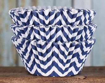 Navy Chevron Cupcake Liners, BakeBright Cupcake Liners, Navy Cupcake Liners, Baking Cups, Cupcake Cases, Cupcake Wrappers (60)