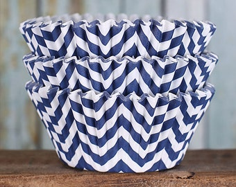 Navy Chevron Cupcake Liners, BakeBright Cupcake Liners, Navy Cupcake Liners, Baking Cups, Cupcake Cases, Cupcake Wrappers (50)
