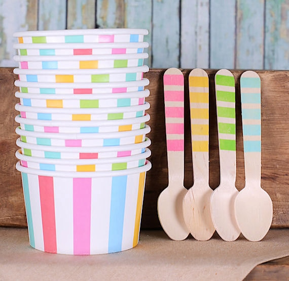 Cute striped ice cream cups and spoons