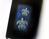 Blue Tribal Turtles Journal, Hawaiian Polynesian Style Art, Black Leather Writing Notebook, Original Design